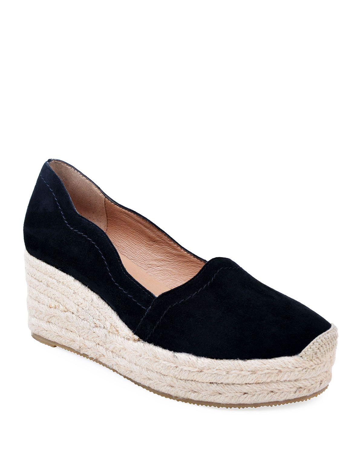32d003f97d Bettye Muller Concept Reese Scalloped Suede Espadrilles, Black in ...