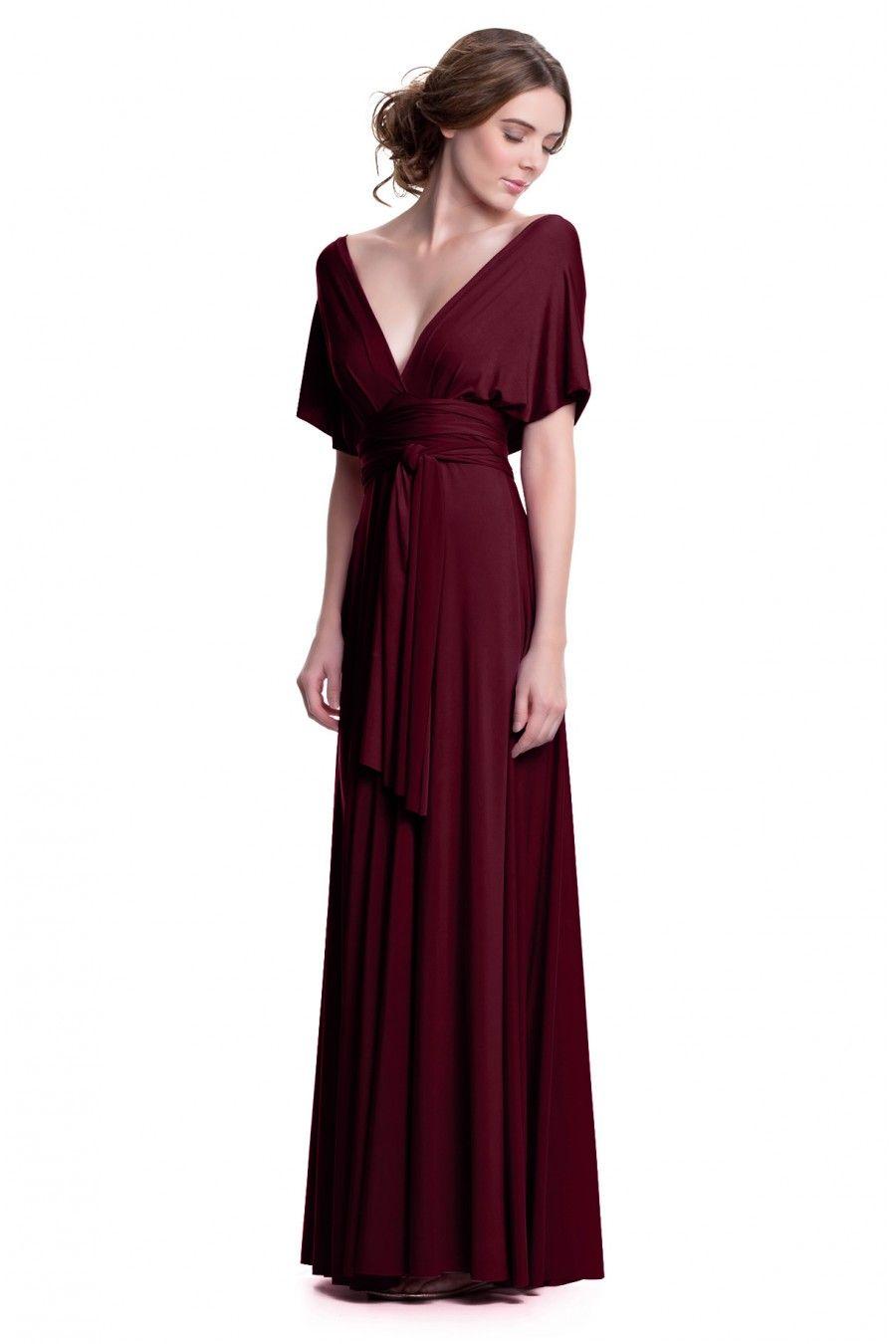 Sakura Maxi Convertible Dress | Burgundy wine