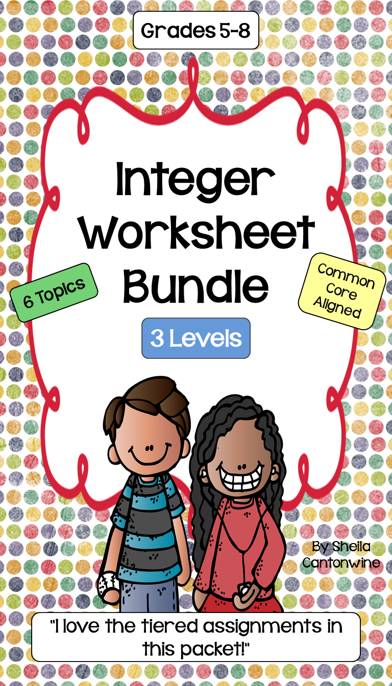 Integers Worksheets for Adding, Subtracting, Multiplying