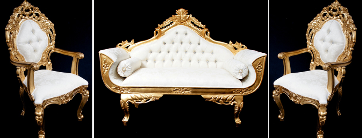 Royal palace wedding set gold and ivory cream one sofa and two ...