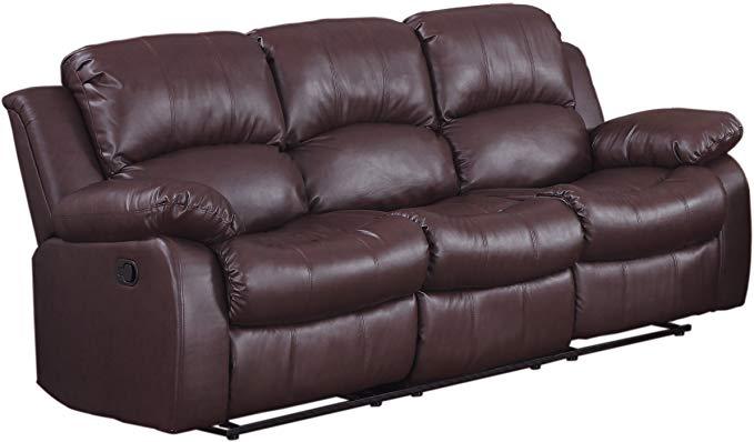 Homelegance Resonance 83 Bonded Leather Double Reclining Sofa