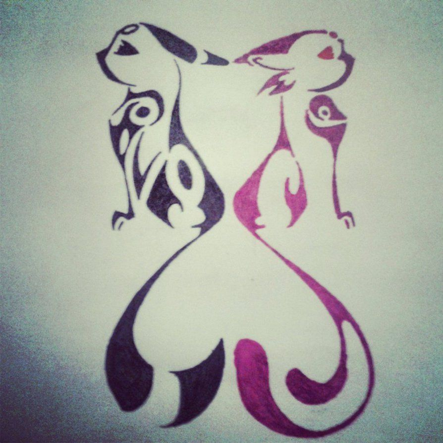 Tribal Heart Espeon and Umbreon by unknownTHEkid on ...