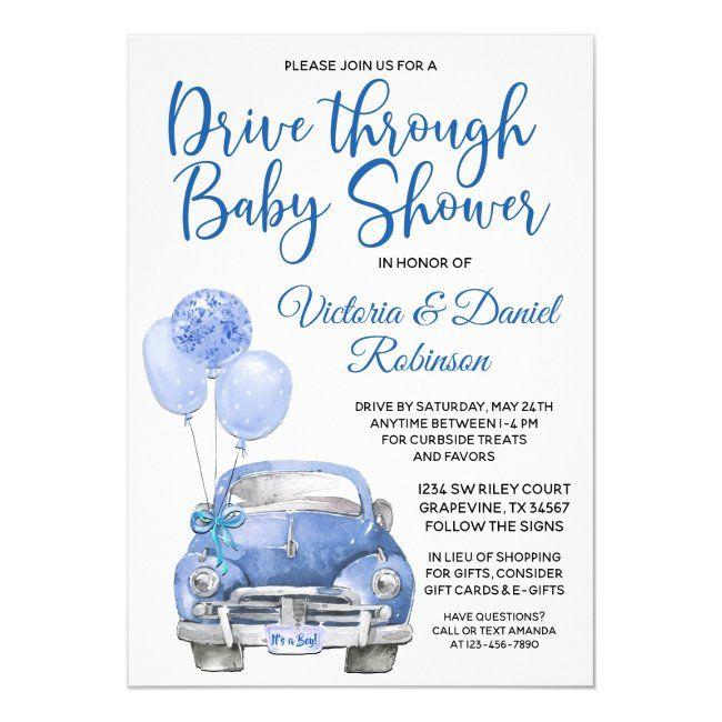 Boy Drive Through Covid Baby Shower Car Invitation