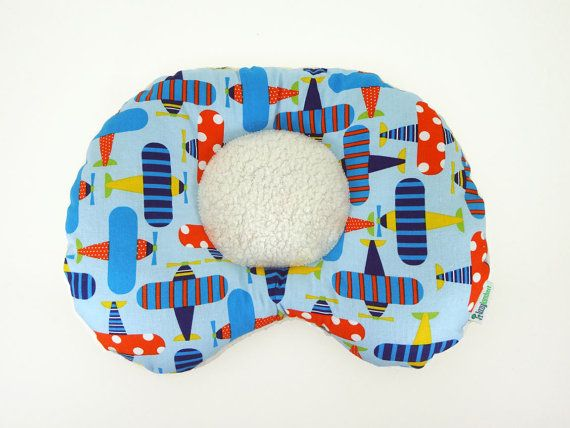 Just what you were looking for! Great Christmas gift! Cute Airplanes GOTS Organic Cotton Ergonomic Baby Head & Neck Support Pillow by LazyLambert
