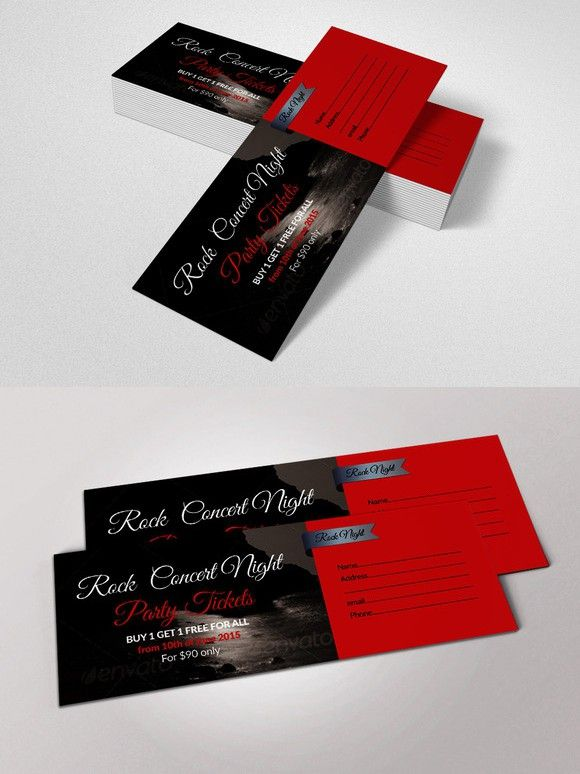 concert pass party ticket creative card templates pinterest