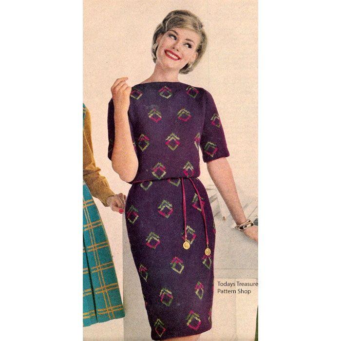 Knitting Pattern Dress With Diamond Motif Vintage 1960s Wishlist