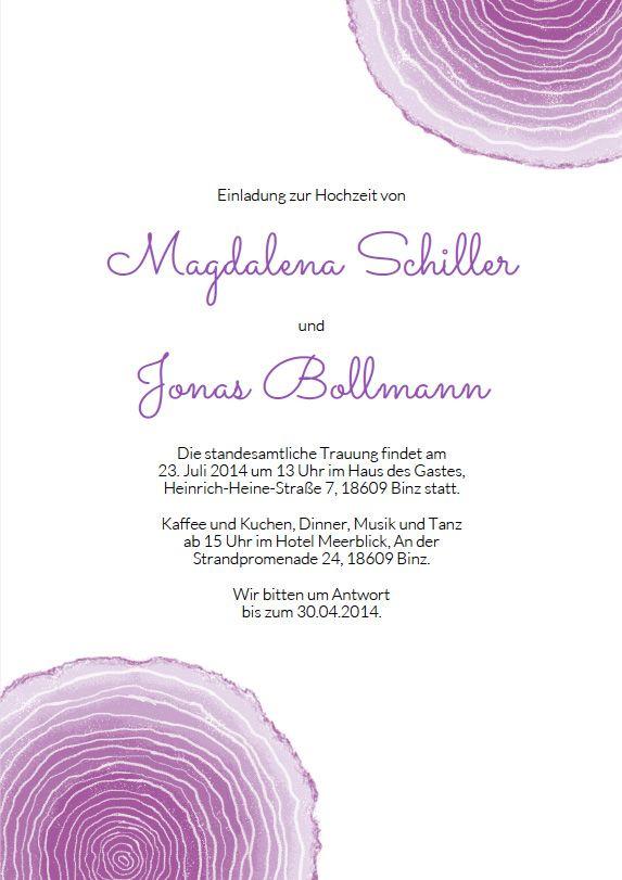 Hochzeitseinladung – Jahresringe violett: Jahresringe gelten als Symbol für Zukunft, Beständigkeit und Wachstum. Gibt es ein schöneres Motiv für eine Hochzeitskarte zum Selberdrucken
