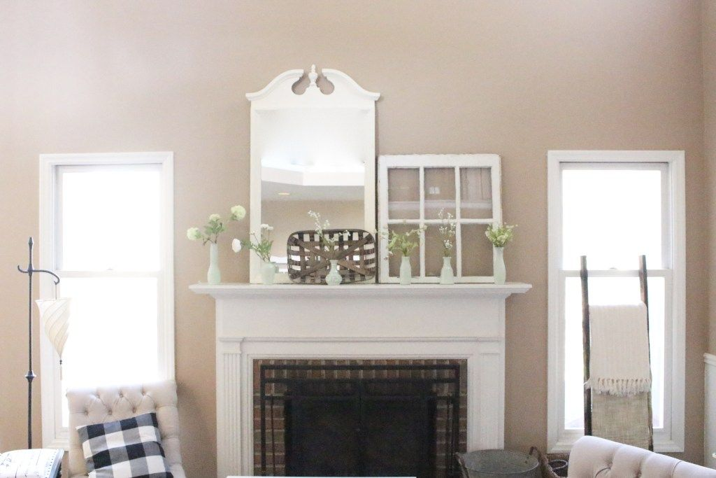 Decorate Your Mantel Faux Milk Glass Mantel For Spring Vases