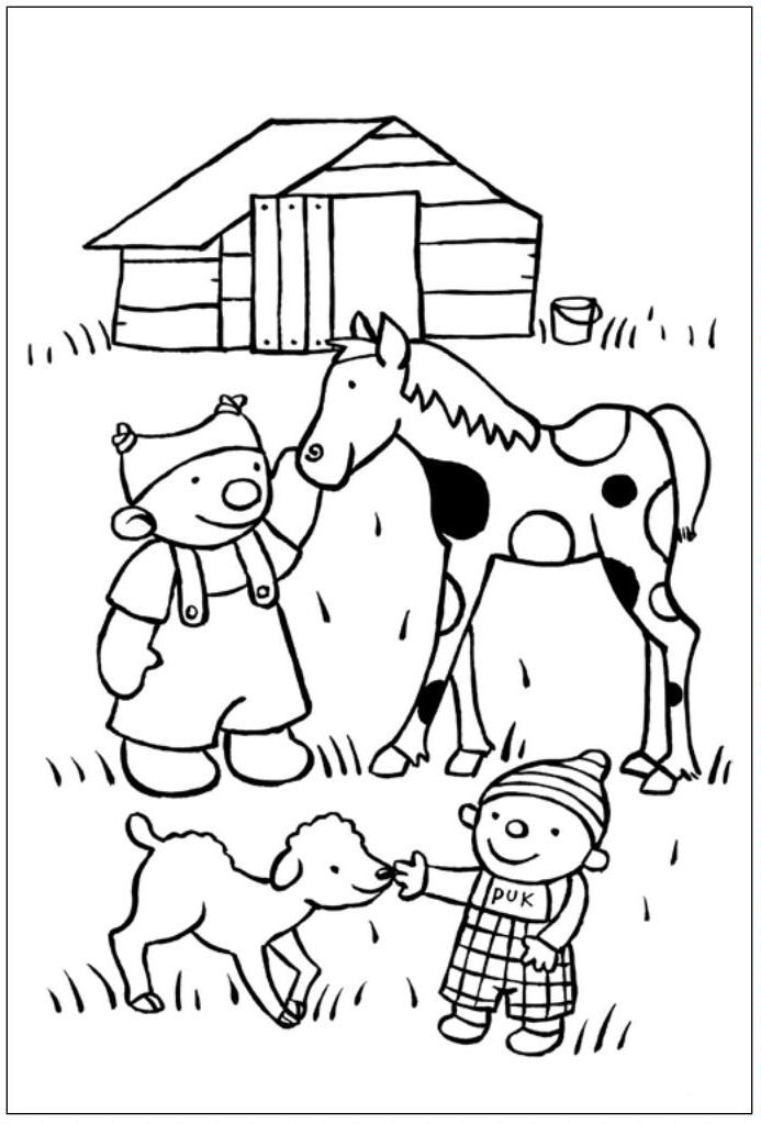 puk op de kinderboerderij kleurplaten kinderboerderij