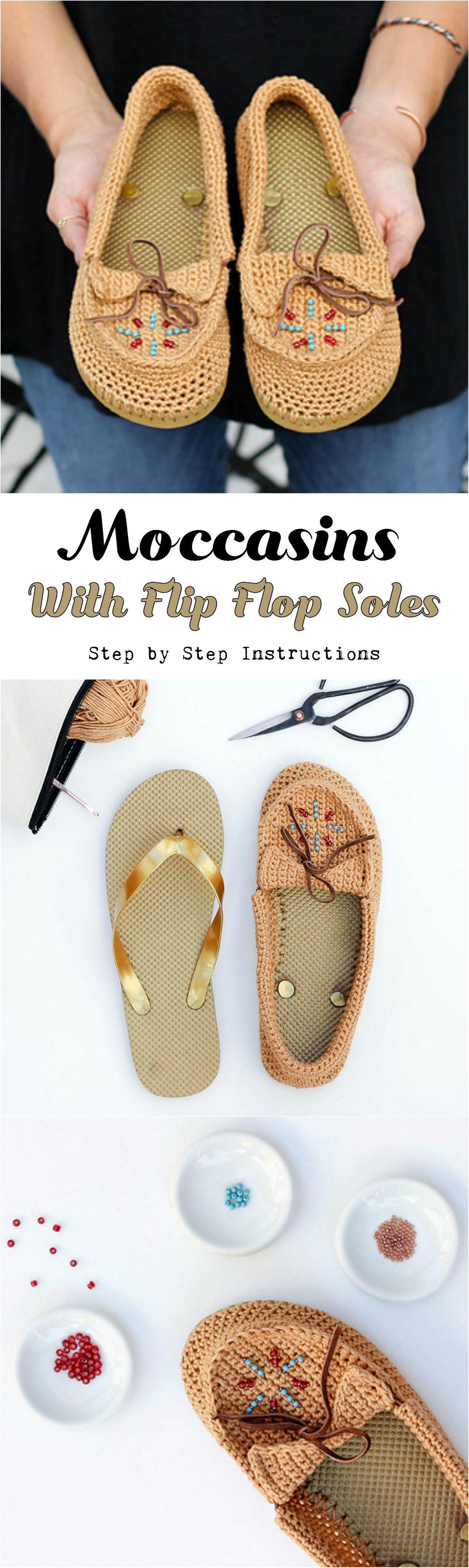 Crochet Moccasins With Flip Flop Soles | Zapatos tejidos, Zapatos y ...