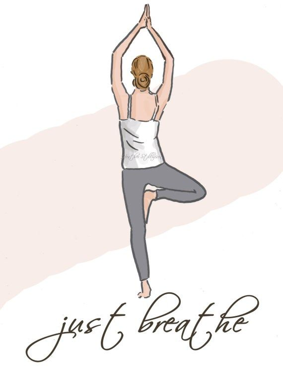 Just Breathe..... Yoga Art. Just a simple reminder for you or a friend just about anyone will appreciate this message of encouragement *This is a print of my Original Illustration * Printed on gorgeous Epson archival print paper. * Will ship in a protective sleeve to prevent bending in transit *