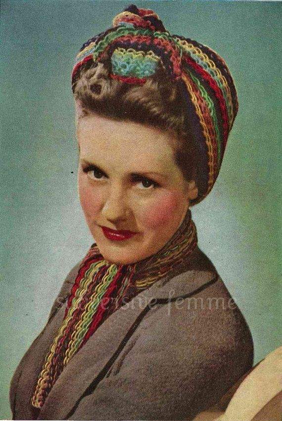 1940s War Era Multi Coloured Traingular Head Scarf And Matching Neck