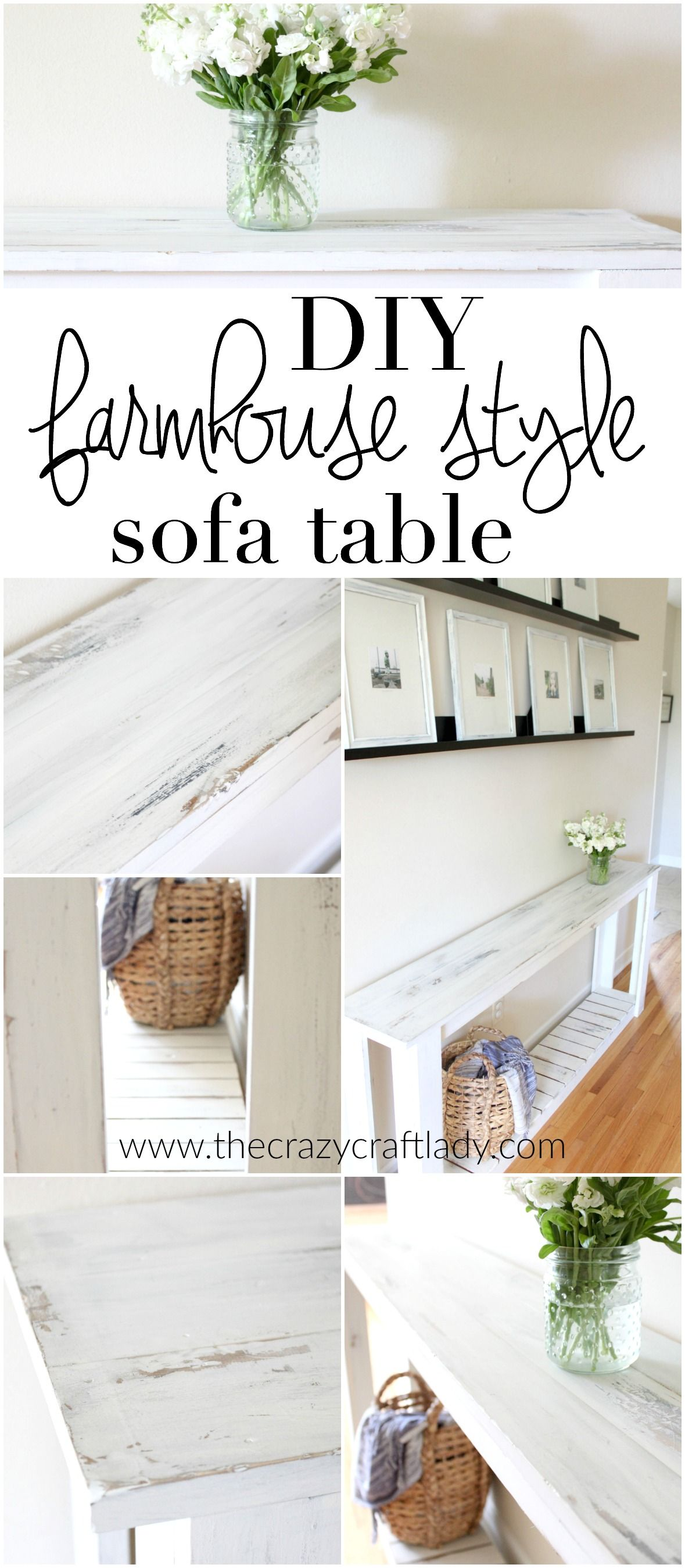 How to make a sofa table out of floor boards - Diy Sofa Table Farmhouse Style