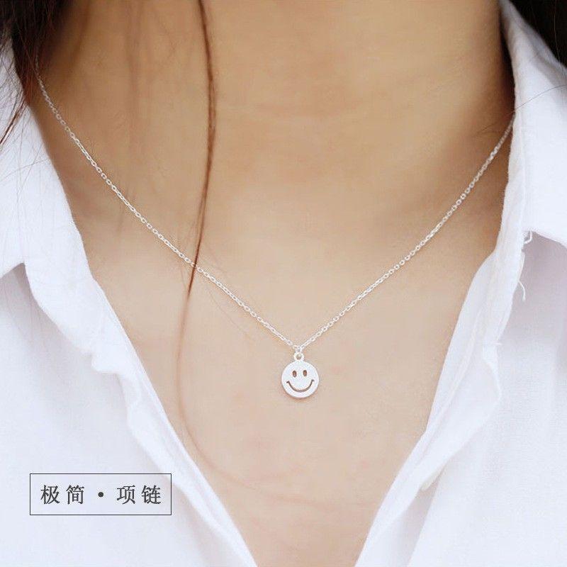 S925 Silver Emoji Smile Positive Energy Korea Simple Sweet ...