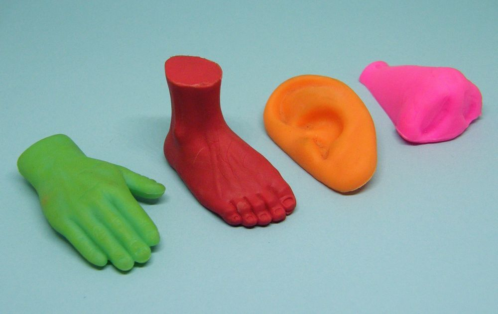 Vintage Retro 1980's Body Parts Erasers Foot Nose Hand Ear Rubbers Gommes  Joblot