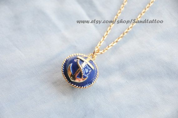 Etsy :: Nautical Anchor Necklace Navy Blue by Sandtattoo