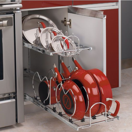Two Tier Pots Pans And Lids Organizer For Kitchen Cabinet Heavy