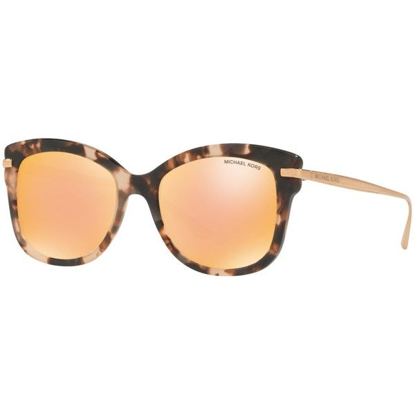 Michael Kors MK2047 Lia Square Sunglasses, Pink Tortoise/Mirror Rose... (£149) ❤ liked on Polyvore featuring accessories, eyewear, sunglasses, pink sunglasses, adjustable lens glasses, tortoise sunglasses, pink mirror sunglasses and square sunglasses