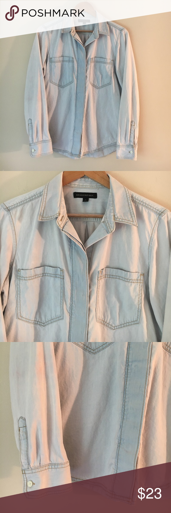 """Banana Republic Chambray Button Down GUC. 100% cotton. 38"""" chest, 26"""" length. Size S but fits more like a M. Last two pics show a couple of small pink marks on right sleeve, they are barely noticeable. Banana Republic Tops Button Down Shirts"""