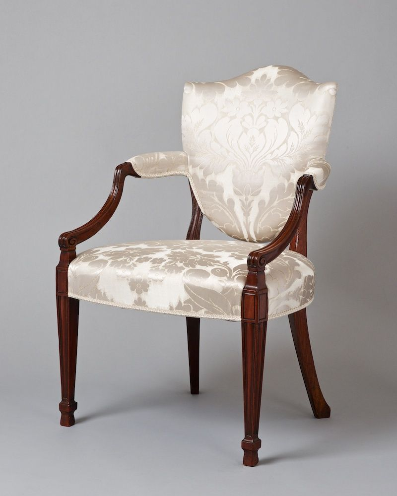 A Hepplewhite Period Shield Back, Mahogany Armchair, Completely  Reupholstered