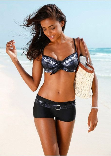 dd5036fb22 2 Piece Womens Swimsuit Push Up Top and Boy Short Bottoms 3 Colors ...