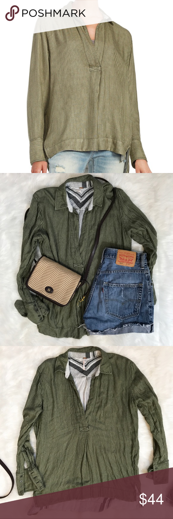 """Free People Green Striped On the Road Shirt Beach style collared shirt. Striped olive green with hi-low design. 4 buttons on wrist. Natural bust is 40"""". Front is 26"""" long, while back is 29"""" long. Worn look. Extra soft. Good condition. Size XS Free People Tops"""