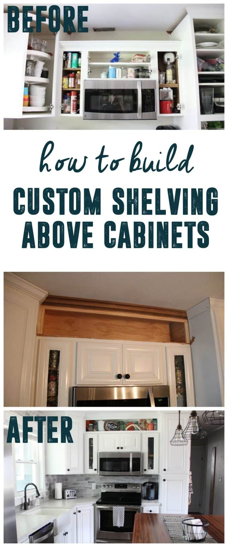 How to build open shelving above cabinets for custom look open