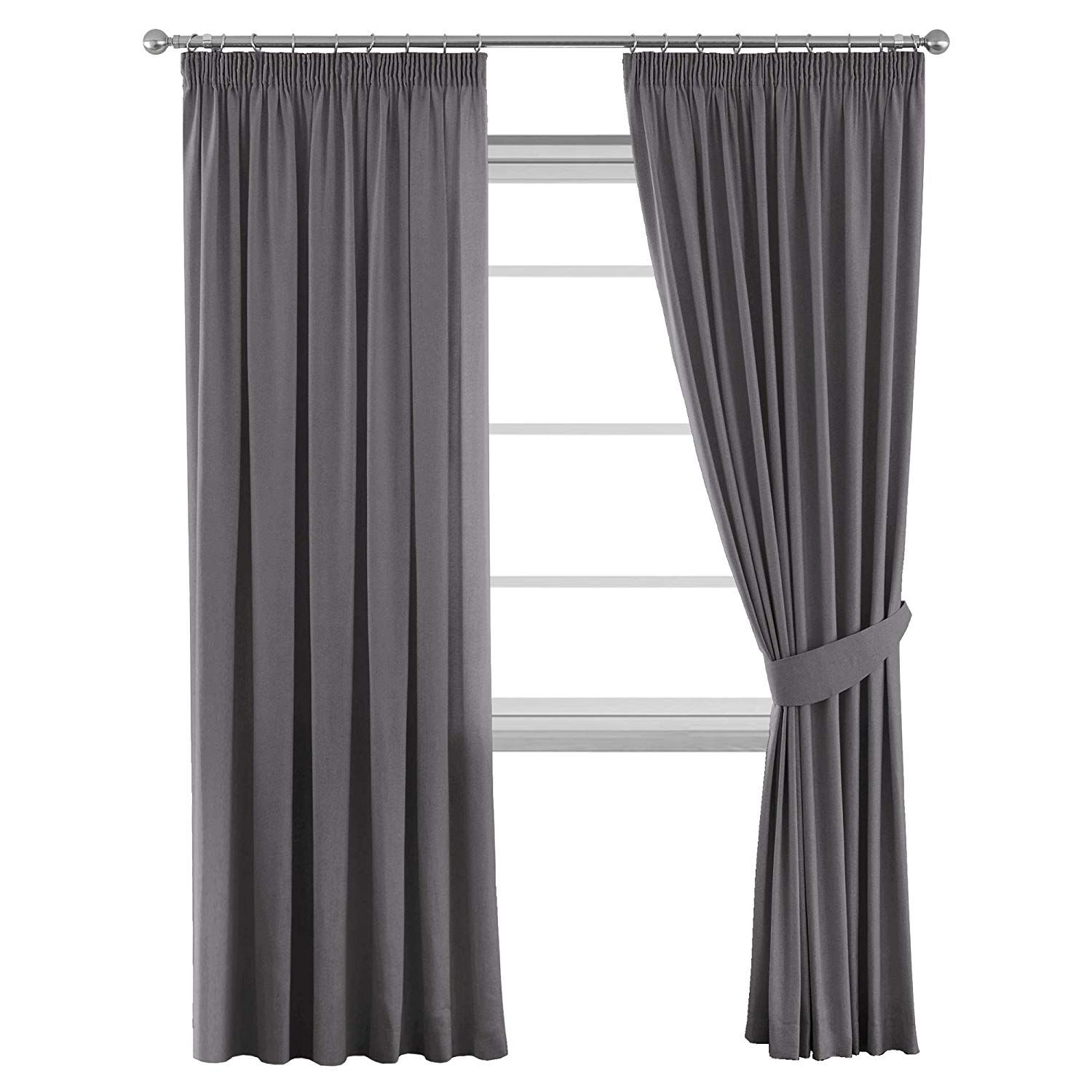 H Versailtex Solid Thermal Insulated Blackout Pencil Pleat Anti Mite Curtains For Bedroom With Two Free Grey Pencil Pleat Curtains Curtains Thermal Curtains