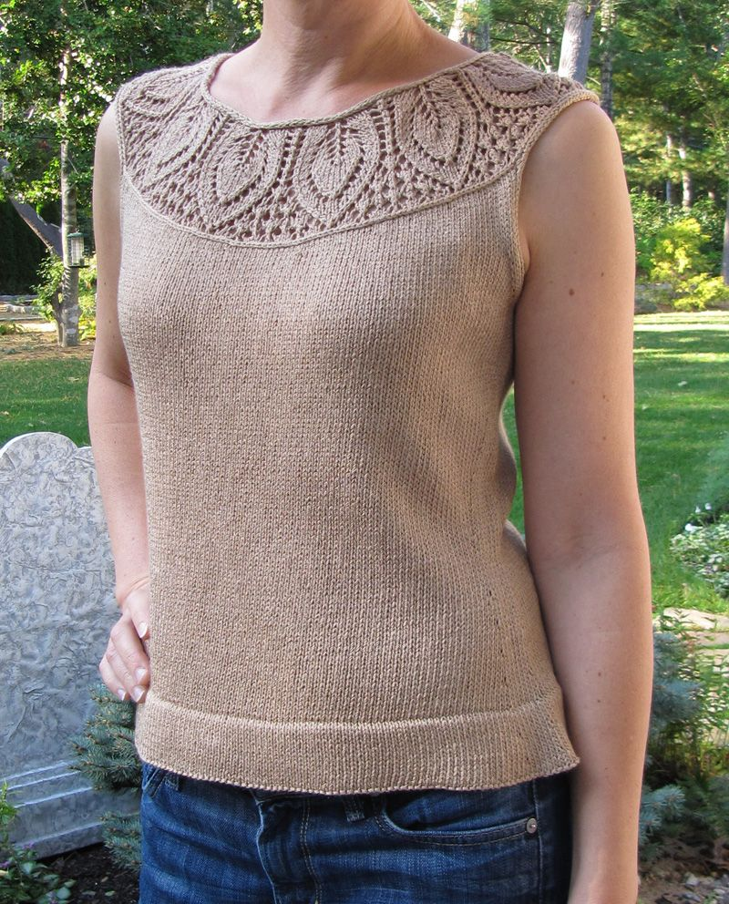 leaf yoke top. Interesting beginning to a top-down sweater ...