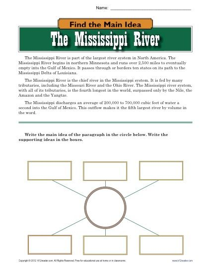 High School Main Idea Worksheet About The Mississippi River ...