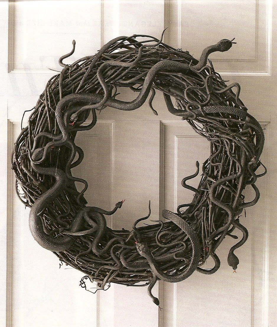 Rubber snake wreath for Halloween