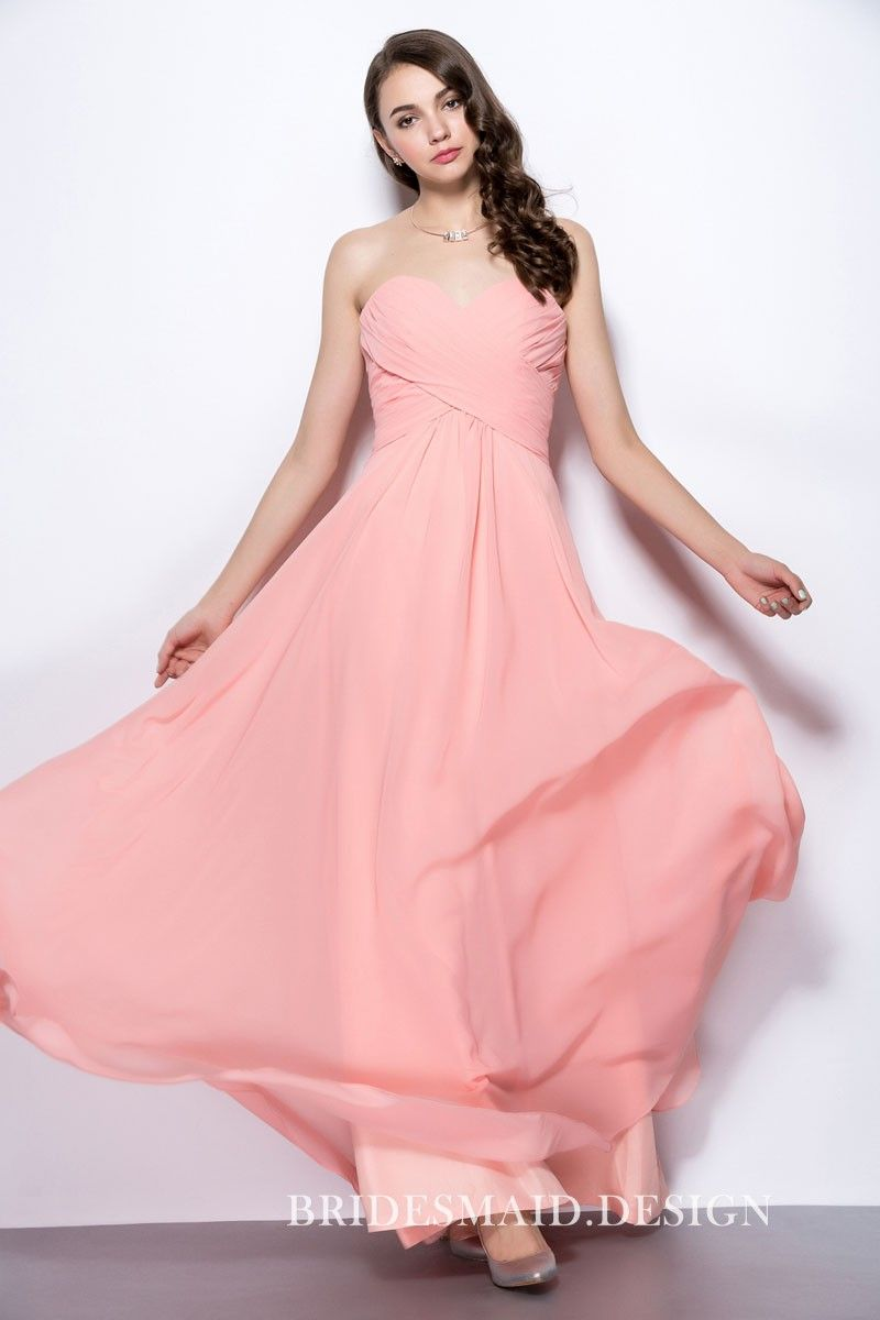 Simple strapless pink chiffon empire aline long beautiful