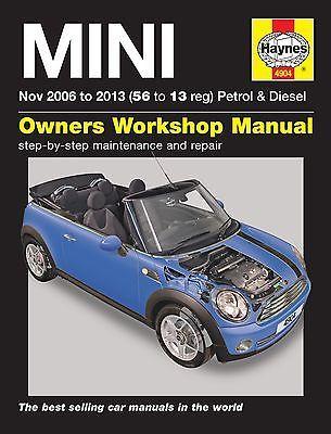 Haynes Manual Bmw Mini 2006 2013 Car Workshop Repair Book Maintenance 4904 New Mini Workshop Manuals Mini Manual Car Repair Manuals Car Workshop