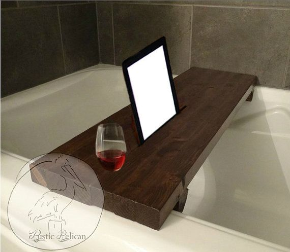 Rustic Bathtub Caddy -IPad -Wood Bathtub Tray -Bath shelf -reclaimed ...
