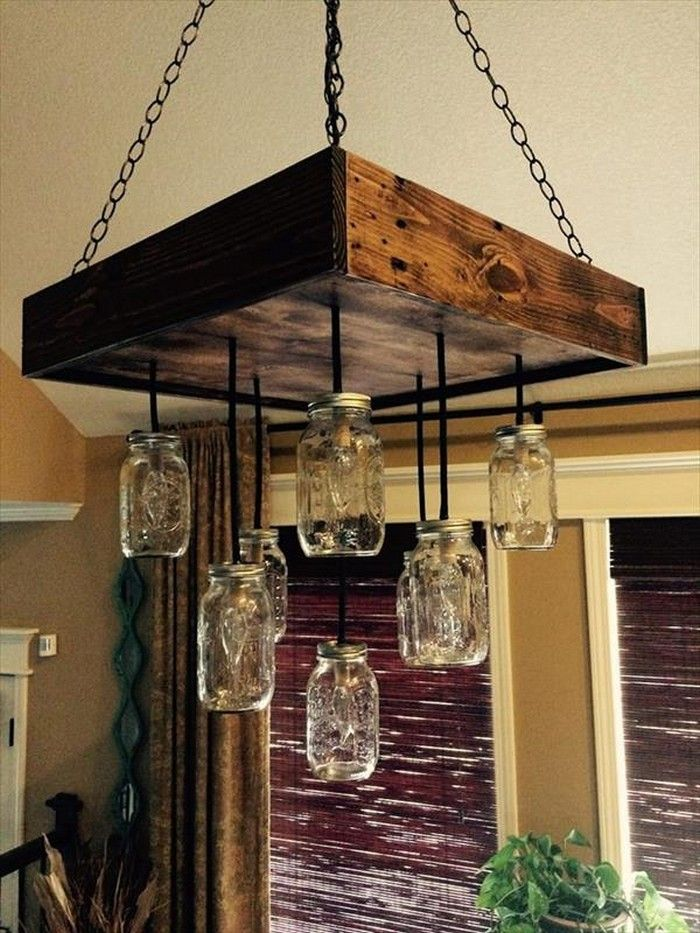DIY Pallet Mason Jars Chandelier | luces | Pinterest | Iluminación ...