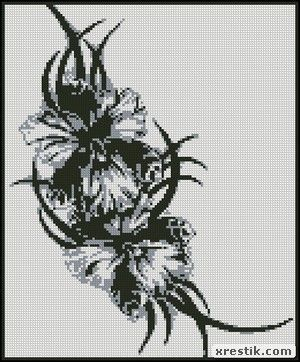 Flower colors monochrome embroidery scheme download