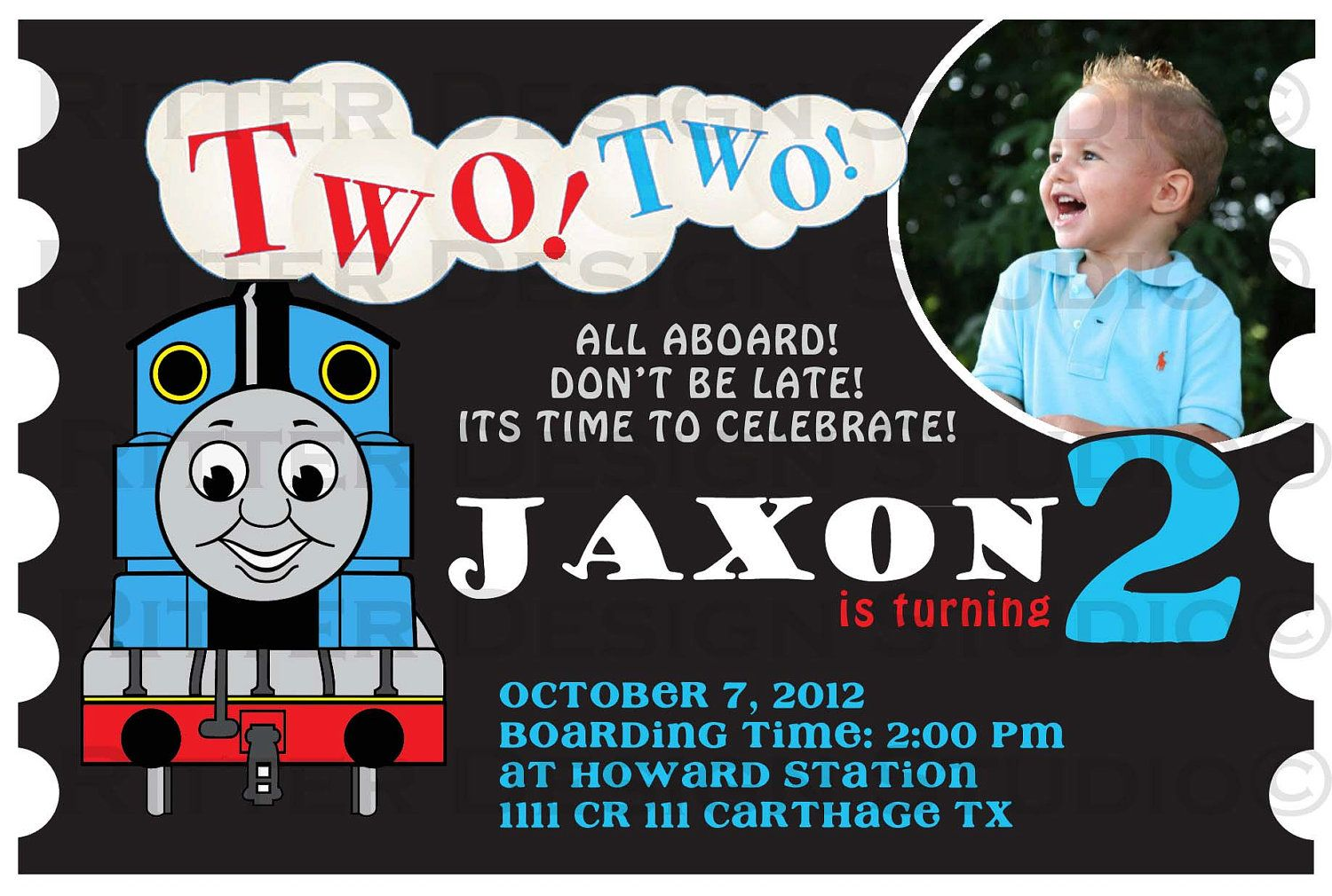 Thomas the train birthday invitation birthday party ideas thomas the train birthday invitation for other birthdays the two two can be changed to choo choo this is a custom digitalprintable design filmwisefo Gallery