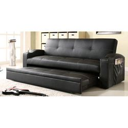 Bento 'Click Clank' Vinyl Trundle Sofa | Luxury sofa bed