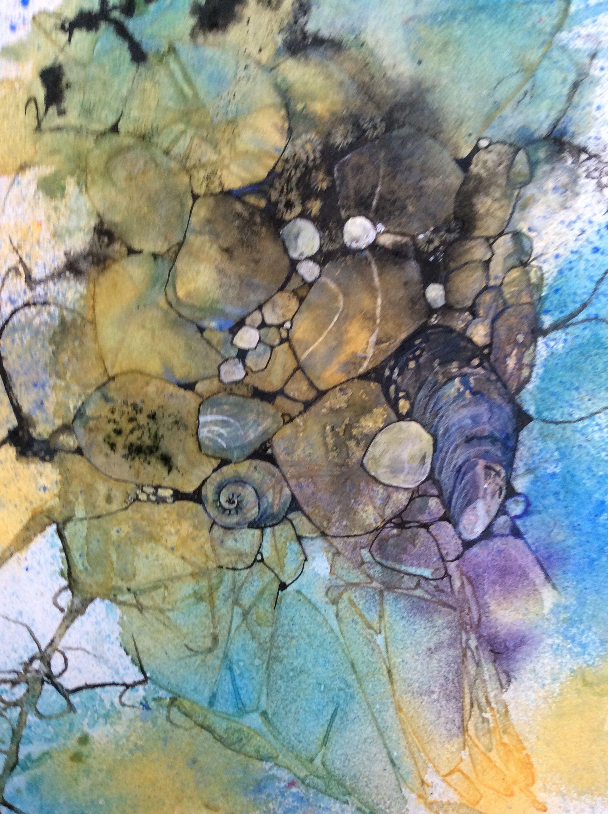 Rock Pool Watercolour Ink And Gouache Val Spayne Pool Art