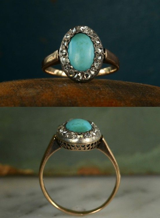 Gorgeous vintage turquoise, gold and diamond ring.