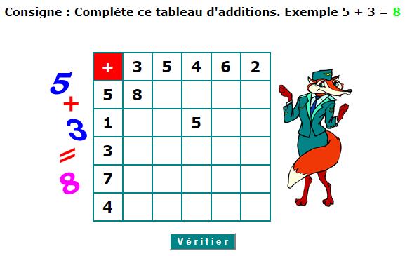 Consigne : Complète ce tableau d'additions. Exemple 5 + 3 ...