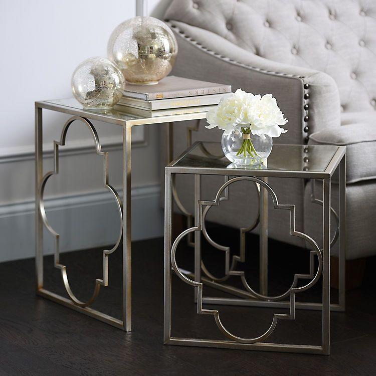 Silver Quatrefoil Nesting Tables Set Of 2 Living Room Side Table Living Room Table Sets Living Room Sets Furniture