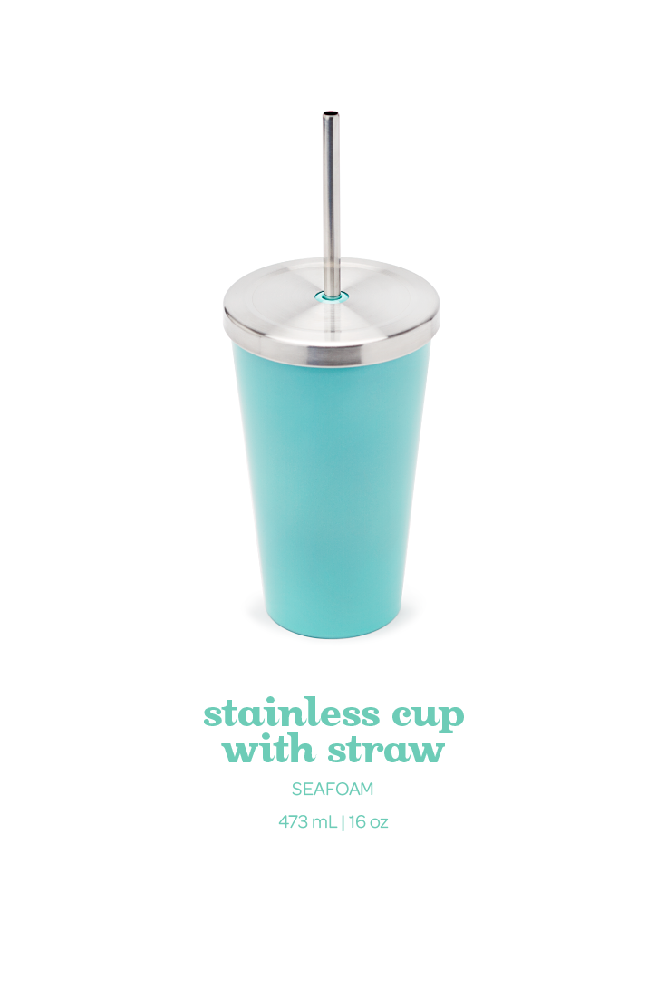 A Double Walled Stainless Travel Mug With A Reusable Straw