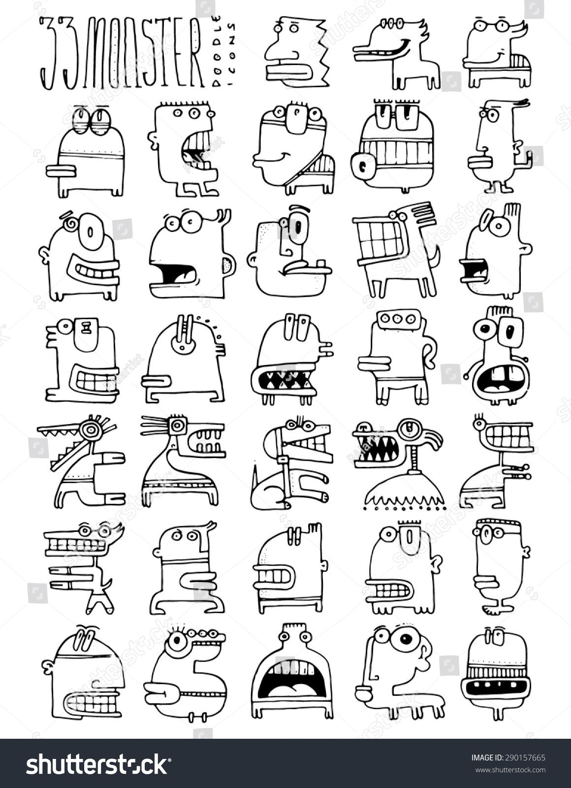 Thirty Three Doodle Icons Monster Simple Drawing Funny Faces Silly