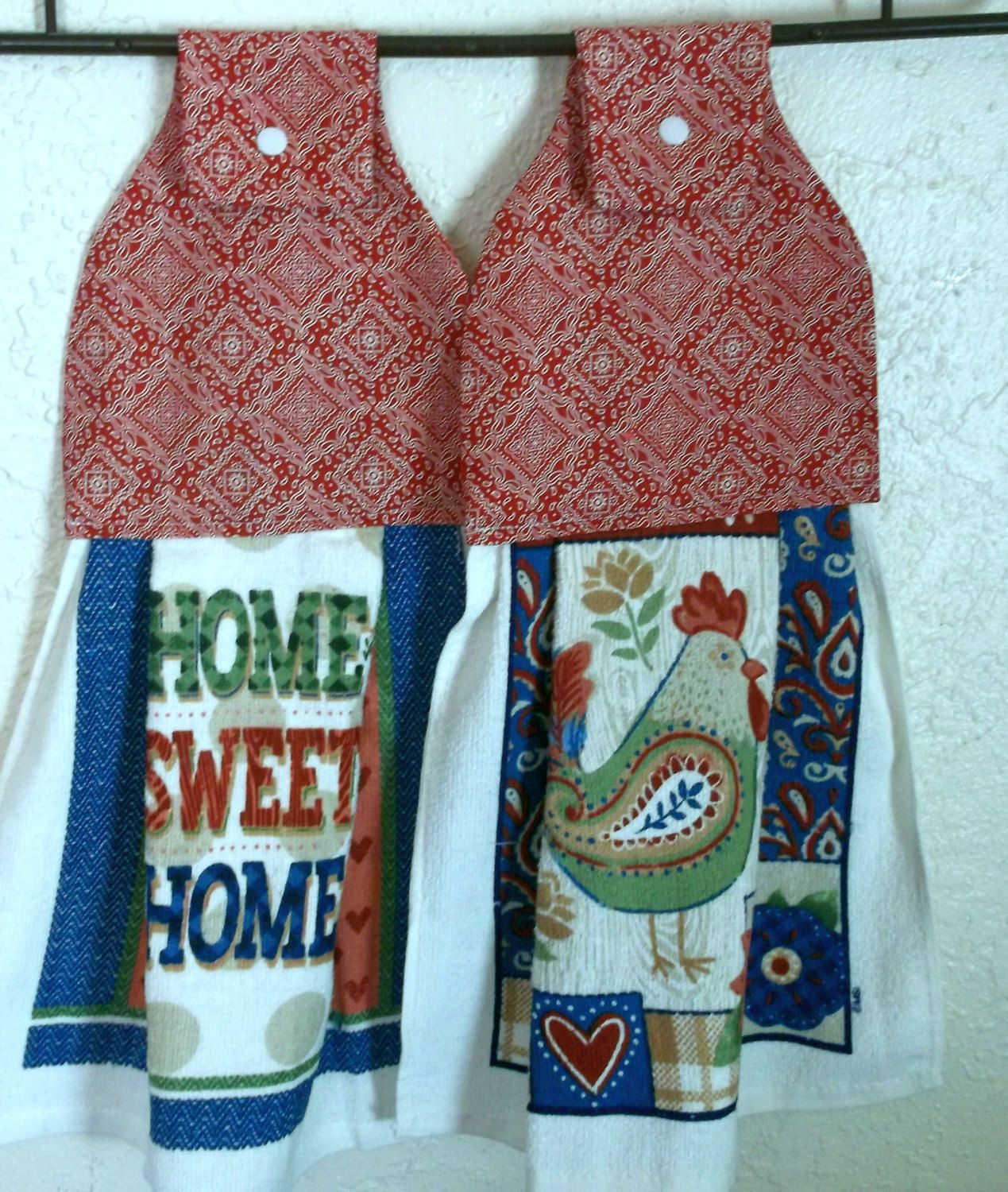 Hanging Tea Towels -Chicken -Home Sweet Home- Folk Art- Kitchen ...