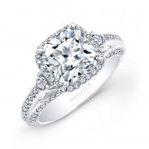 18k White Gold Micro Pave Princess Cut Halo Diamond Engagement Ring with Side Stones NK22438-W