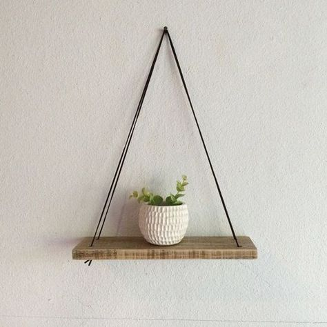 Photo of Swing Shelf – Reclaimed Wood Shelf – Wood and Leather – Urban Shelf – Simple Hanging Shelf – Natural Wood Shelf – Bohemian Wood