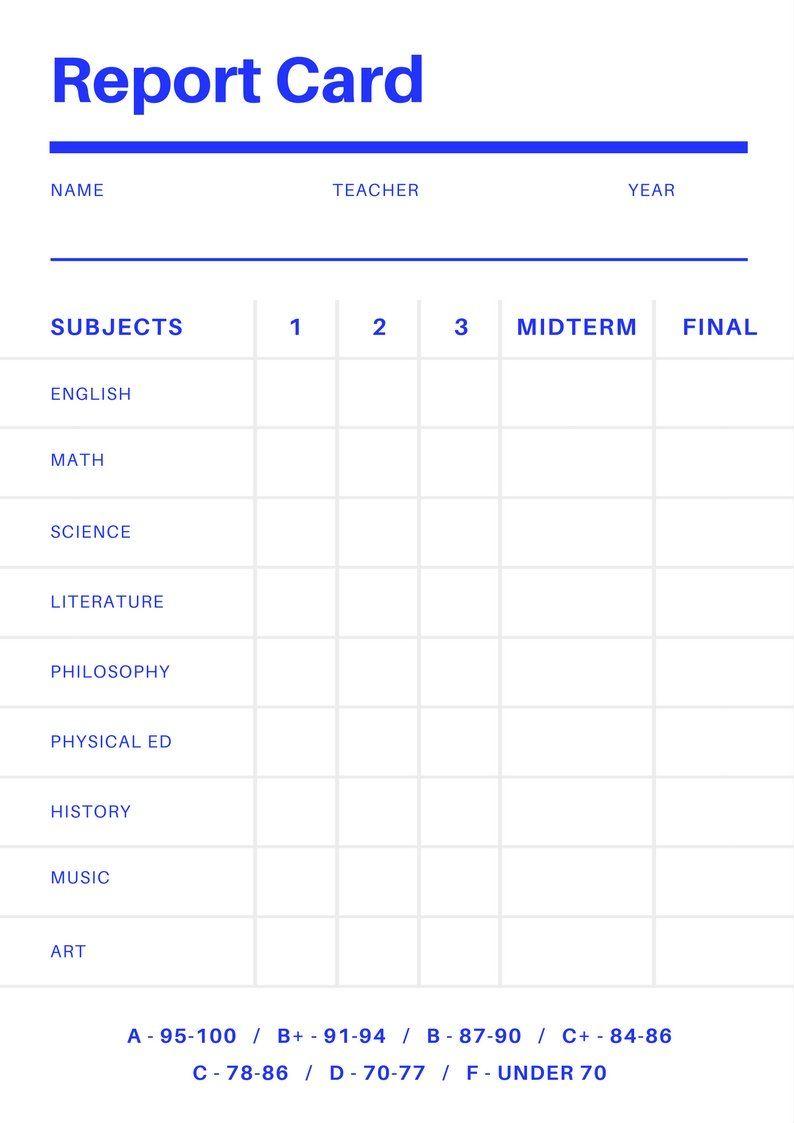 Free Online Report Card Maker Design A Custom Report Card With Regard To Fake Report Card Te School Report Card Report Card Template Kindergarten Report Cards
