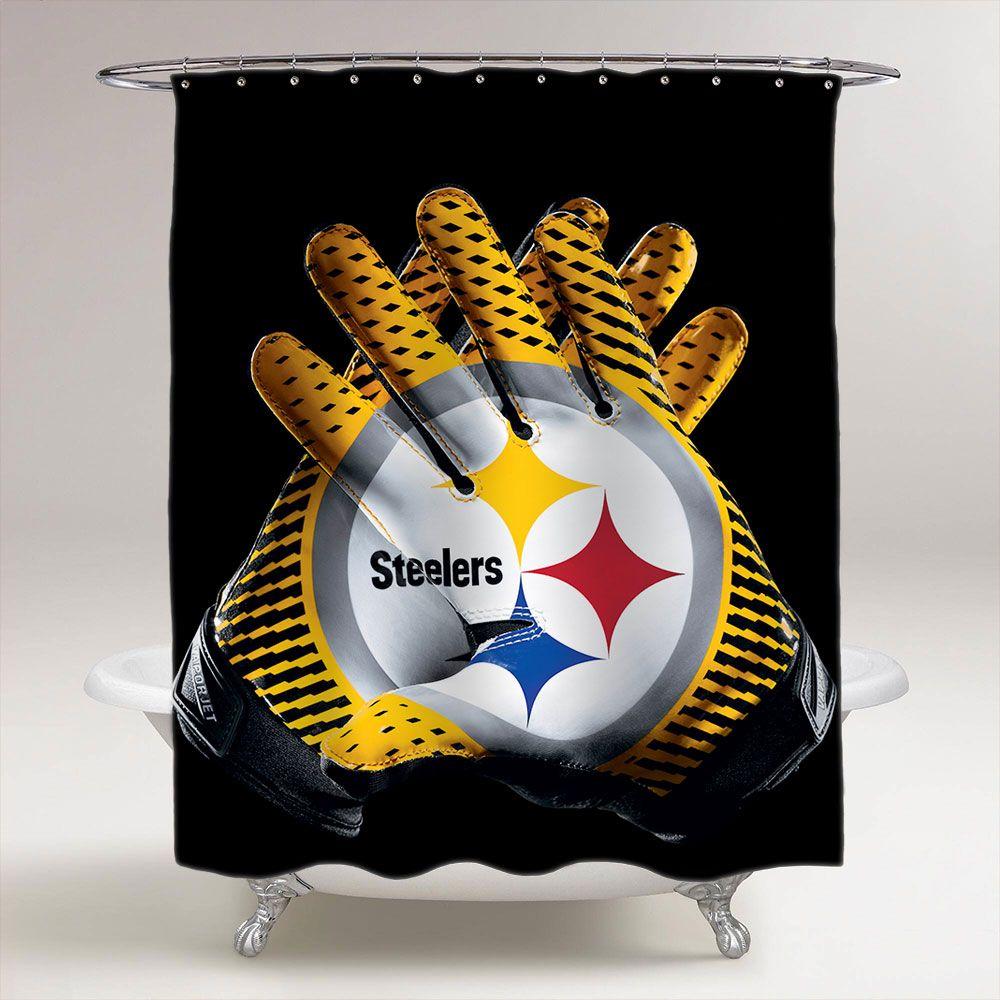Pittsburgh Steelers Football Gloves Bathroom Shower Curtain Price 3699 Bestgift