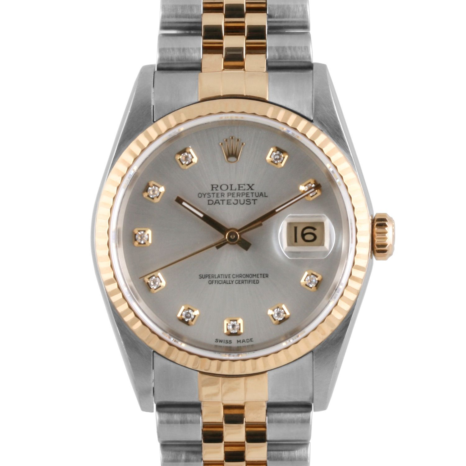 Menus rolex datejust steel and gold silver diamond dial fluted bezel